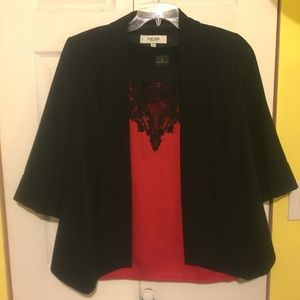 Worthington red and black lace blouse